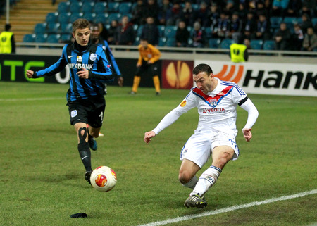 winger: ODESSA, UKRAINE - FEBRUARY 20: moment of the game during the Europa League football match against Chernomorets Odessa Ukraine and Olympique Lionnais France . Steed Malbranque - winger, February 20, 2014 in Odessa