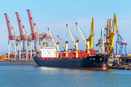 ODESSA, UKRAINE - APRIL 15: maritime cargo ship moored in the harbor of Odessa sea port . Loading and unloading are carried out works of Ukrainian industrial goods, April 15, 2014 Odessa, Ukraine