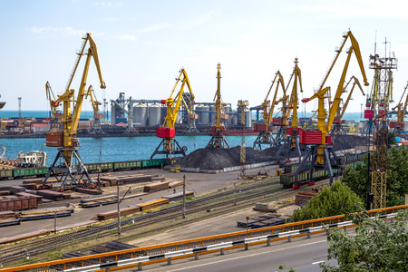 dredging: ODESSA, UKRAINE - APRIL 16: maritime cargo port of Odessa . Container terminal . Loading is carried out works of Ukrainian industrial goods and cargo , April 16, 2014 Odessa, Ukraine