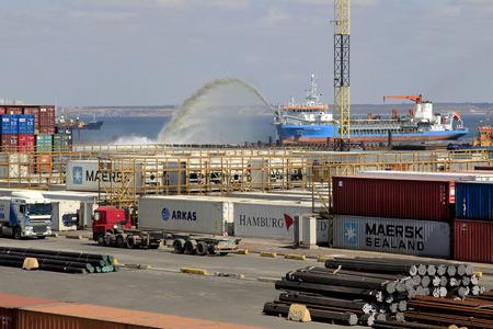 dredging: ODESSA, UKRAINE - APRIL 16: maritime cargo port of Odessa . Container terminal . Dredging the harbor fairway , April 16, 2014 Odessa, Ukraine Editorial