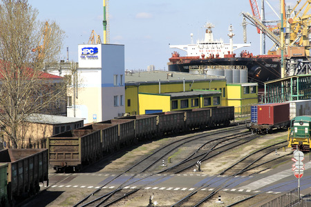 allegedly: ODESSA, UKRAINE - APRIL 16: maritime cargo port of Odessa . Container terminal . Loading is carried out works of Ukrainian industrial goods and cargo , April 16, 2014 Odessa, Ukraine