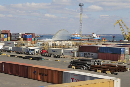 allegedly: ODESSA, UKRAINE - APRIL 16: maritime cargo port of Odessa . Container terminal . Dredging the harbor fairway , April 16, 2014 Odessa, Ukraine Editorial