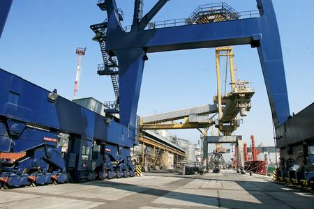 allegedly: ODESSA, UKRAINE - APRIL 15  industrial sea cargo cranes on the dock harbor of Odessa Sea Commercial Port of loading in Odessa marine vessel cargo container terminal , April 15, 2014 Odessa, Ukraine