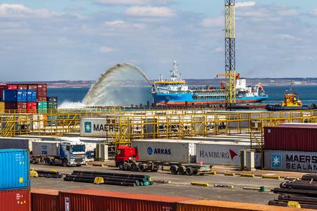 allegedly: ODESSA, UKRAINE - APRIL 16  Odessa sea cargo port  Container terminal   Dredging the harbor fairway , April 16, 2014 Odessa, Ukraine
