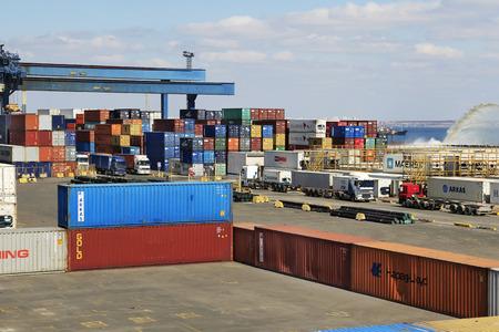 allegedly: ODESSA, UKRAINE - APRIL 16  maritime cargo port of Odessa   Container terminal   Dredging the harbor fairway , April 16, 2014 Odessa, Ukraine Editorial