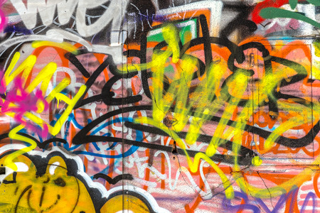 grafitis: Hermosa grafiti arte de la calle. Creativas colores de moda de dibujo abstractos en las paredes de la ciudad. Urban Cultura Contempor�nea Editorial