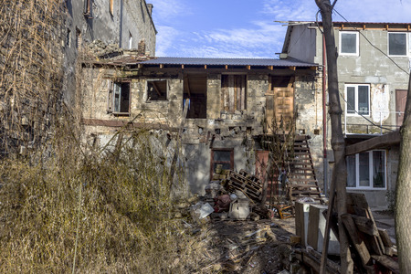 Odessa, Ukraine - December 20, 2014: the ruins of the old historic homes destroyed by the earthquake and destructive exploitation of urban structures December 20, 2014 in Odessa, Ukraine. Editorial