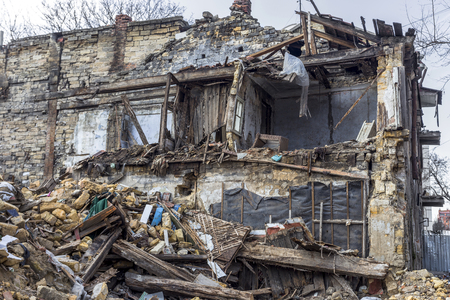 Odessa, Ukraine - December 20, 2014: the ruins of the old historic homes destroyed by the earthquake and destructive exploitation of urban structures December 20, 2014 in Odessa, Ukraine. Stock Photo