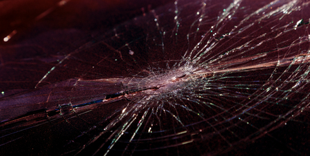 Terrible dangerous car after a fatal accident. Broken windshield. A broken car with broken glass. Ð¡ar hazard. Reckless dangerous driving. Broken windshield after fatal accident with a pedestrian