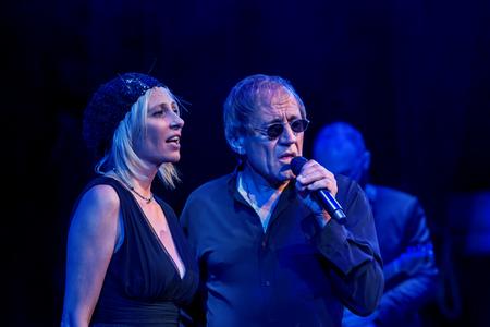 ODESSA, UKRAINE - November 4, 2018: concert performance by Adriano Celentano. The soloist of the music group - Adolfo Sebastiani - famous singer, showman Celentano. Show Tribute. Italian pop legend