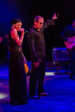 ODESSA, UKRAINE - November 4, 2018: concert performance by Adriano Celentano. The soloist of the music group - Adolfo Sebastiani - famous singer, showman Celentano. Show Tribute. Italian pop legend Redactioneel
