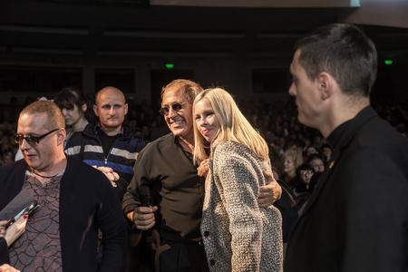 ODESSA, UKRAINE - Nov. 4, 2018: concert performance by Adriano Celentano. Soloist of the music group - Adolfo Sebastiani - famous singer, showman Celentano. Tribute Show Celentano. Italian pop legend Redactioneel