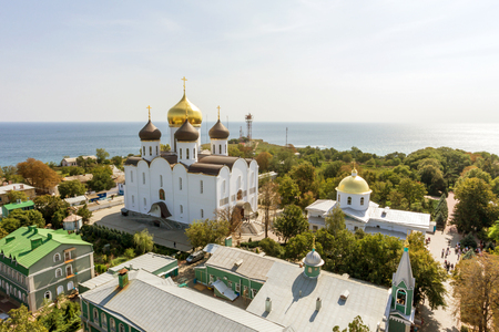 Ukrainian Orthodox Church of the Moscow Patriarch, Holy Dormition Odessa Patriarchal Monastery. This is one of the main attractions of the city. 免版税图像