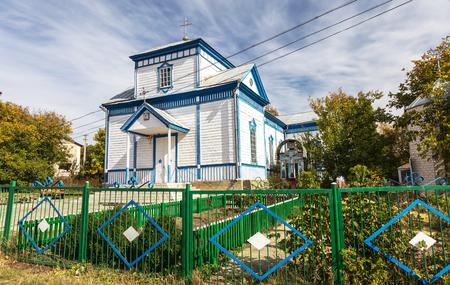 A small wooden provincial Ukrainian Orthodox Church of the Moscow Patriarchate. Odessa region, Kodyma, 2012