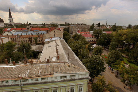 Odessa, Ukraine - CIRKA 2011: Urban scene, cityscape from a birds eye view - built in the historic center of the city with slate and metal roofs of the old residential complex