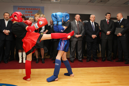 Odessa, Ukraine, March 17, 2011: Demonstration performances of athletes in Thai boxing among children. Children's boxing, children's kickboxing. Popularization of sports and healthy lifestyle Editorial