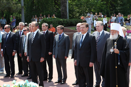 Odessa, Ukraine - April 6, 2011: Foreign Minister Russia Sergey Lavrov, official visit. Laying flowers at Eternal Flame, press conference. Minister Foreign Affairs of Ukraine Konstantin Gryshchenko Editorial