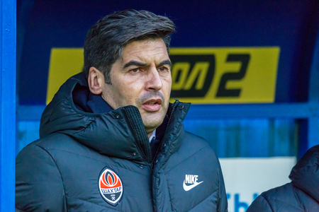ODESSA, UKRAINE -2 March 2019: Legendary famous football coach Paulo Alexandre Rodrigues Fonseca during match Shakhtar (Donetsk) with Chornomorets. Press conference, comments Head coach Paulo Fonseca