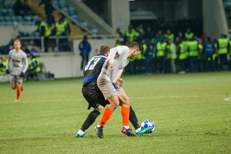 ODESSA, UKRAINE - March 2, 2019: football players of Shakhtar Donetsk - Chernomorets Odessa. Intensive game of the Premier League of Ukraine
