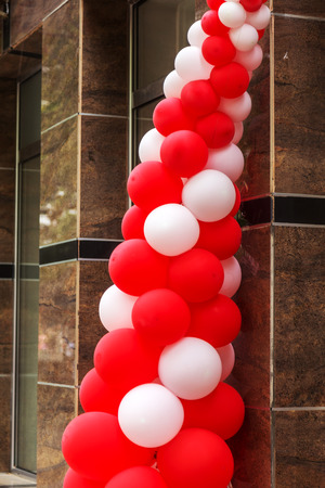 Making the entrance with colorful balloons during the celebration of a solemn event. Party or birthday banner with colorful balloons 스톡 콘텐츠