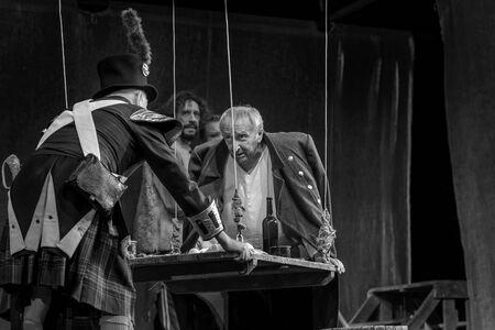 ODESSA, UKRAINE - August 27, 2019 A fragment of a theatrical production of the historical drama