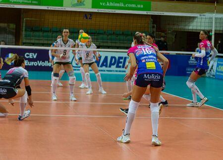 ODESSA, Yuzhny, UKRAINE - Febr 4, 2020. Women European Volleyball Championship. VK Khimik - Ukraine accepts Igor Gorgonzola NOVARA, Italy (red-blue). CEV Cup Challendge round European Women Volleyball