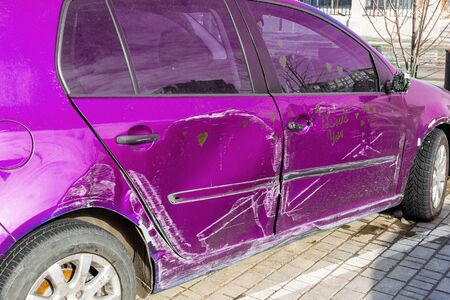 Car after accident, blue car crashed, accident,
