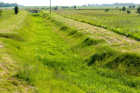 Ecological problems, global warming. Drought. Dry irrigation canal without water. Disaster, crop loss without water. Environmental disaster in agriculture