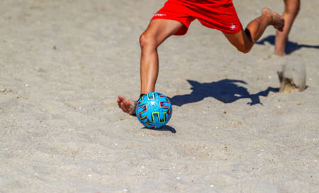 Odessa, Ukraine-July 25, 2020: Beach Soccer Championship among amateur women on beach. Soccer in sand. Young beautiful girls playing beach football on sand of city beach. Football on sand Foto de archivo - 152284569