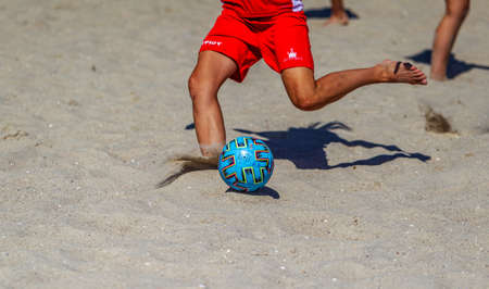 Odessa, Ukraine-July 25, 2020: Beach Soccer Championship among amateur women on beach. Soccer in sand. Young beautiful girls playing beach football on sand of city beach. Football on sand Foto de archivo - 152284585