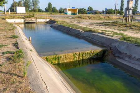 Agricultural canal or irrigation canal in a concrete wall Direct water to the farmer's farmland in arid areas of risky farming Stock fotó
