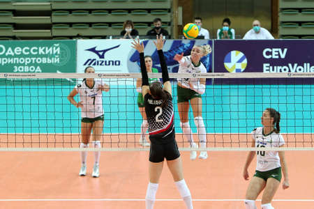 ODESSA, UKRAINE-09/30/2020. Women's emotional Volleyball. Champion of Ukraine KHIMIK Yuzhny (white) and PROMETEY (KAMENSKOYE) black. Joyful emotions of team after victory. Women's sports game Redakční