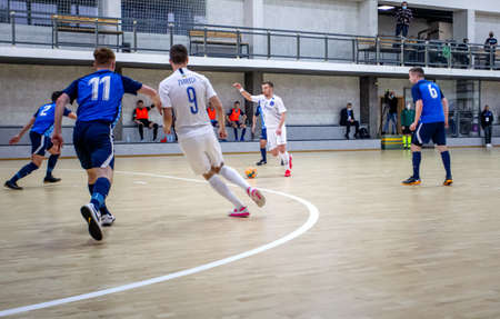 ODESSA, UKRAINE - 11/28/2020: MFC PRODEXIM (UKR) FUTSAL Champions League (Kherson) -white- ROSARIO (Northern Ireland) -blue. Highlights. PRODEXIM 28-1 Rosario Futsal Club. Mini-football on parquet Redakční