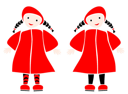 fun twins in red coats