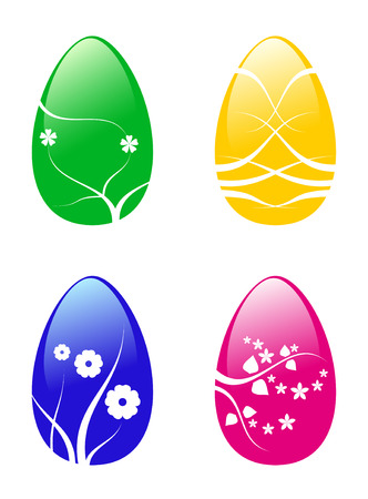 color easter eggs with flower Vector