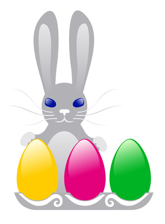 grey hare with color easter eggs Stock Vector - 4619416