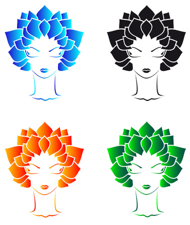 beauty girls with leaf`s hear Vector
