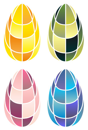 different color stained-glass easter eggs   Vector
