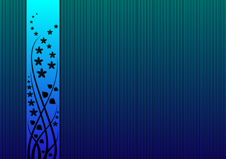 blue striped background with flowers Stock Vector - 4619427