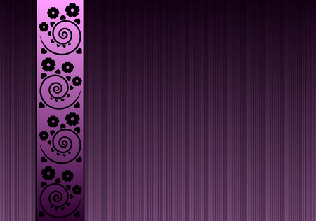 violet background with flowers and swirls Illustration