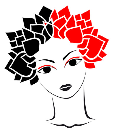 beauty woman with leaf`s hear Vector