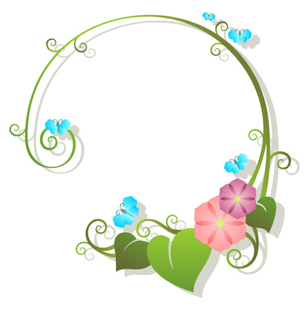 circles vector: flowers, leafs and blue butterflies with shade