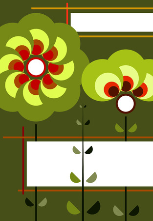 green retro background with flowers Vector