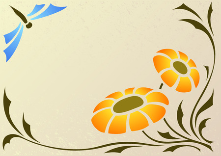 orange flower and blue dragonfly Vector