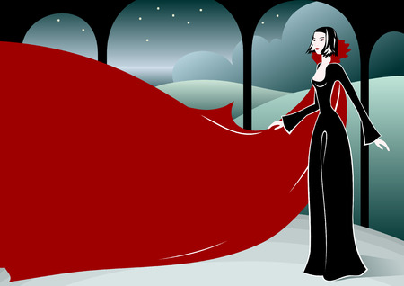 beauty vampire in arbour at night Vector