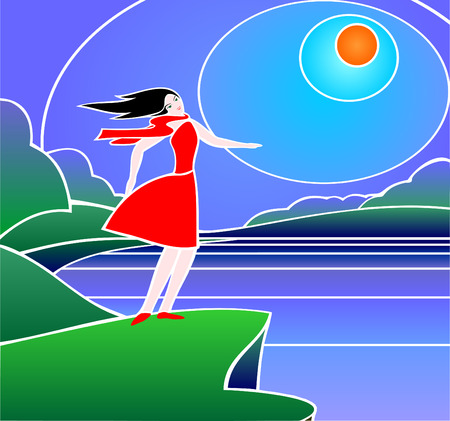woman in red dress on the lake in windy weather Vector