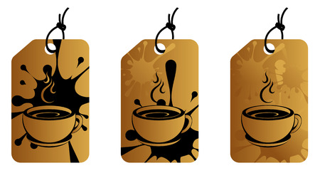 cup of coffee on brown dirty label    Vector
