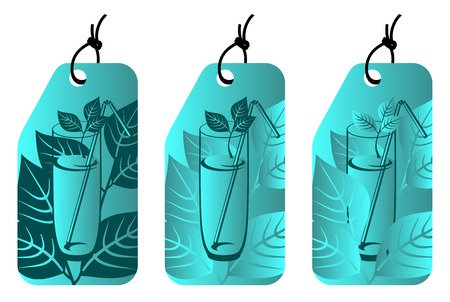 label with glass of cold mint juice Vector