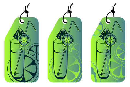 label with glass of cold lemon juice Vector