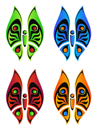 green, red, orange and blue geometrical butterfly   Vector